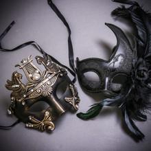 Black Gold Roman Greek Emperor with Pegasus Horses & Black Side Feather Glitter Couple Masks Set