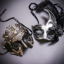Black Gold Roman Greek Emperor with Pegasus Horses & Silver Black Side Feather Glitter Couple Masks Set