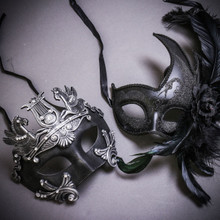 Black Silver Roman Greek Emperor with Pegasus Horses & Black Side Feather Glitter Couple Masks Set