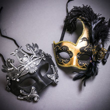 Black Silver Roman Greek Emperor with Pegasus Horses & Gold Black Side Feather Glitter Couple Masks Set