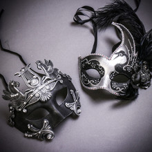 Black Silver Roman Greek Emperor with Pegasus Horses & Silver Black Side Feather Glitter Couple Masks Set