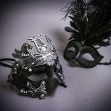 Black Silver Roman Greek Emperor with Pegasus Horses & Black Mardi Gras Eye Mask with Top Feather Couple Masks Set