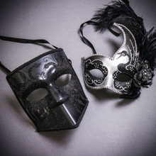Black Glitter Full Face Bauta & Silver Black Side Feather Glitter Couple Masks Set