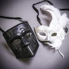Black Glitter Full Face Bauta & White Side Feather Glitter Couple Masks Set