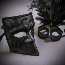 Black Glitter Full Face Bauta & Black Mardi Gras Eye Mask with Top Feather Couple Masks Set