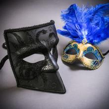 Black Glitter Full Face Bauta & Gold Mardi Gras Eye Mask with Top Blue Feather Couple Masks Set