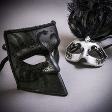 Black Glitter Full Face Bauta & Silver Mardi Gras Eye Mask with Top Black Feather Couple Masks Set