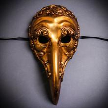 Plague Doctor Zanni Curved Long Nose Venetian Mardi Gras Mask Masquerade - Gold