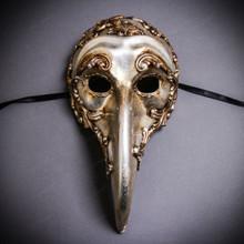 Plague Doctor Zanni Curved Long Nose Venetian Mardi Gras Mask Masquerade - Silver