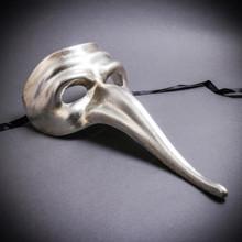 Zanni Long Nose Venetian Mardi Gras Mask Masquerade - Silver