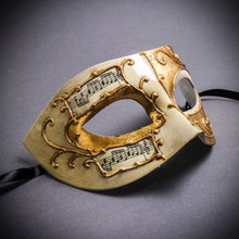 Unisex Musical Venetian Masquerade Eye Mask - White Gold