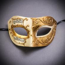 Unisex Musical Venetian Masquerade Eye Mask - White Gold