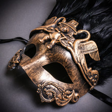 Venetian Feather Masquerade Mask Swan Angel Warrior - Gold