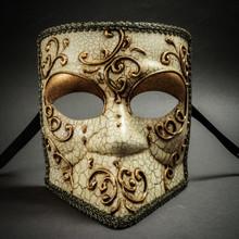 Bauta Aged Venetian Mask - Gold