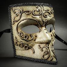 Bauta Aged Venetian Mask - Silver