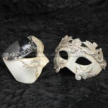 Black Phantom of Opera Musical and Silver Roman Warrior Metallic Mask Combo