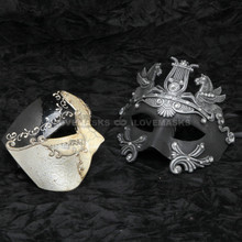 Black Phantom Musical and Black Silver Roman Emperor Pegasus Horse Mask Combo