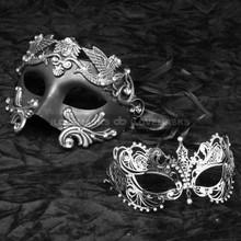 Silver Roman Emperor Masquerade & Silver Charming Princess Diamond Mask Combo