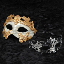 Gold Roman Warrior Metallic Mask & Black Charming Princess Diamond Mask Combo