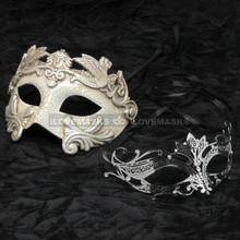 Silver Roman Warrior Metallic Mask & Black Charming Princess Diamond Mask Combo