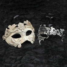 Silver Roman Warrior Metallic Mask & Silver Venetian Phantom Diamond Mask Combo