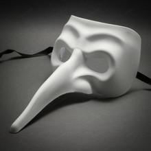 White Long Nose Bird Craft Mardi Gras Masqurade Venatian Haft Mask Zanni Style