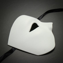 White Half Face One Eye Phantom of The Opera Masquerade Venetian Mardi Gras Mask