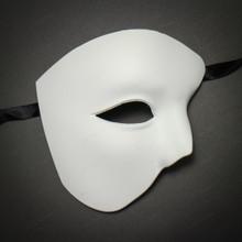 White Half Face One Eye Phantom of The Opera Masquerade Venetian Mardi Gras Mask