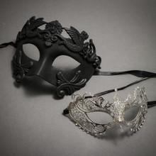 Black Roman Warrior Metallic Mask & Silver Charming Princess Diamond - Couple