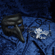 Black Long Nose Swan Venetian Masquerade Mask & Silver Laser Cut Metal Venetian Masquerade Silver Rhinestone Mask - Couple - 2