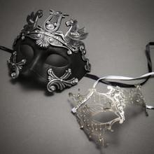 Silver Roman Greek Emperor with Pegasus Horses Venetian Mask & Silver Venetian Masquerade Phantom Mask with Silver Swarovki - Couple