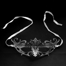 Princess Venetian Masquerade Prom Mask With Diamonds - Silver