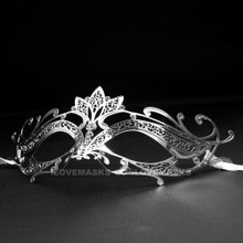 Princess Venetian Masquerade Prom Mask With Diamonds - Silver - 3