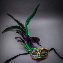 Mardi Gras Glitter Masquerade Mask with Side Feather - Green