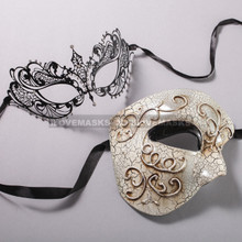 Silver Half Face Phantom of Opera and Black Charming Princess Laser Cut Masks for Couple