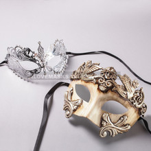 White Silver Roman Warrior Mask and Silver Charming Princess Laser Cut Masks for Couple