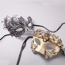 White Silver Roman Warrior Mask and Black Purple Swan Laser Cut Masks for Couple