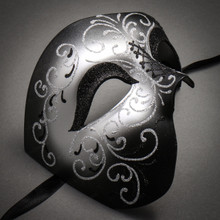 Phantom Of Opera Masquerade Venetian Men Mask - Black Silver - 2