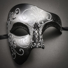 Phantom Of Opera Masquerade Venetian Men Mask - Black Silver - 1