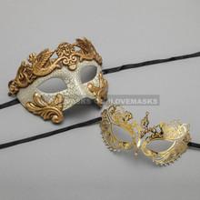 Gold Warrior Roman Greek Masquerade Mask & Gold Princess Diamond Venetian Mask - Couple