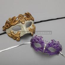 Gold Warrior Roman Greek Masquerade Mask & Purple Princess Diamond Venetian Mask - Couple