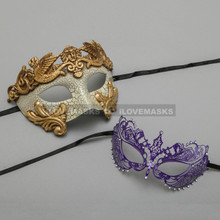 Gold Warrior Roman Greek Masquerade Mask & Princess Purple Diamond Venetian Mask - Couple