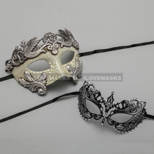 Silver Warrior Roman Greek Masquerade Mask & Black Princess Diamond Venetian Mask - Couple