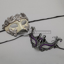 Silver Warrior Roman Greek Masquerade Mask & Black Charming Princess Purple Diamond Mask - Couple