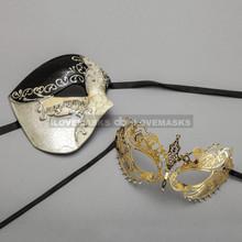 Black Phantom of Opera Masquerade Mask & Gold Princess Diamond Venetian Mask - Couple
