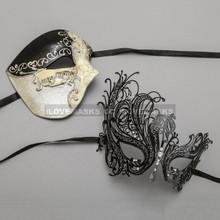 Black Phantom of Opera Musical Style Masquerade & Black Silver Swan Princess Diamond Mask - Couple