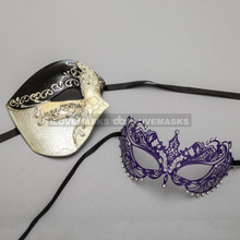 Black Phantom of Opera Musical Style Masquerade & Purple Princess Charming Venetian Eyes Mask for Couple