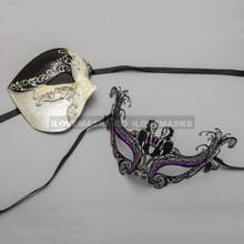 Black Phantom of Opera Musical Style Masquerade & Black Charming Princess Purple Diamond Eyes Mask - Couple