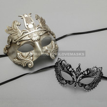 Silver Roman Greek Warrior Masquerade Mask & Black Princess Diamond Venetian Mask - Couple