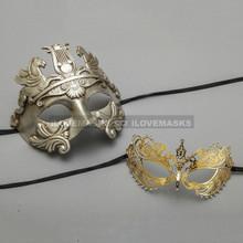 Silver Roman Greek Warrior Masquerade Mask & Gold Princess Diamond Venetian Mask - Couple